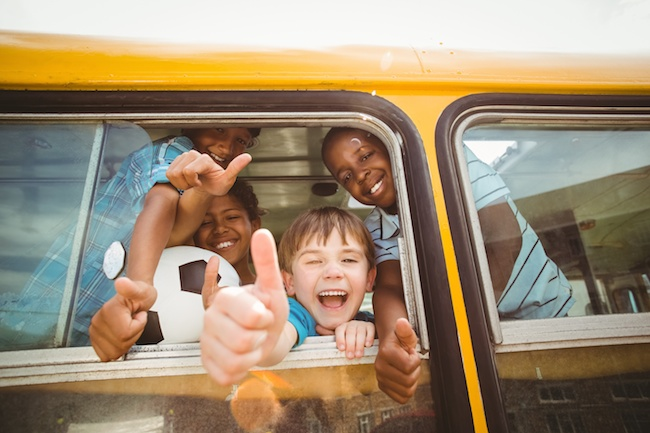 first day of school, kids on bus