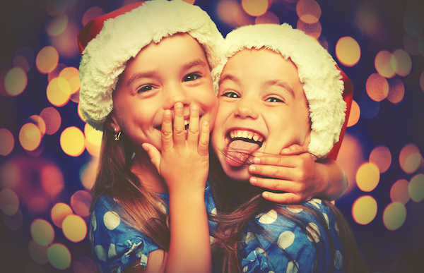 Christmas Happy funny children twins sisters