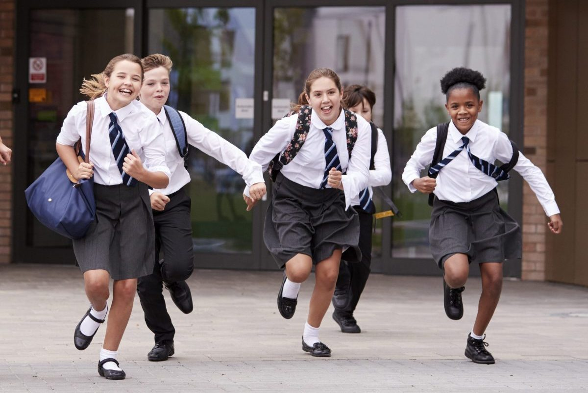 Private school students leaving school for summer vacation